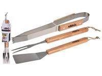 Инструменты для барбекю BBQ 3ед (лопатка, вилка, щипцы), дер