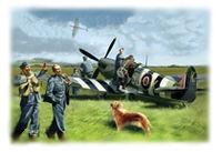 48801 Спитфайр Мк.ИХ с пилотами и техниками ВВС Великобритании