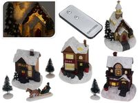 купить Сувенир светящийся рождественский: 4дома, 2дерева, 1фигурка, в Кишинёве