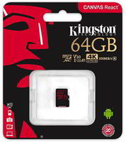 64GB microSD Class10 UHS-I U3 (V30)  Kingston Canvas React, Ultimate, 633x, Read: 100Mb/s, Write: 70Mb/s, Water/Shock and vibration/Temperature proof, Protected from airport x-rays