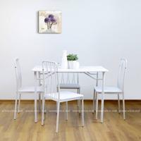 купить Комплект из стола и четырёх стульев из металла MDF, 1100x700x H760 mm, белый в Кишинёве