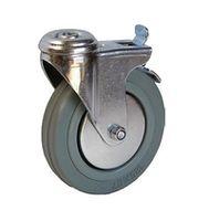 Колесо поворотное с отверстием и тормозом – Ø100mm (3057-100)