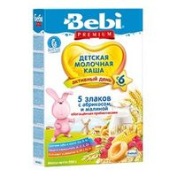 Bebi Premium кашка 5 злаков молочная с абрикосом и малиной, 6+мес. 200г