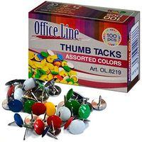 Кнопки OfficeLine, 100 шт, металические, цветные