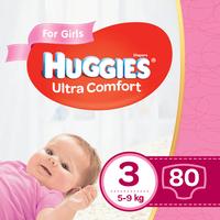 Подгузники для девочек Huggies Ultra Comf 3 (5-9 kg), 80 шт.