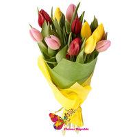 купить Букет из 9 разноцветных тюльпанов. в Кишинёве