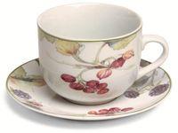 Чашка с блюдцем для чая Cordoba 350ml, с ягодами
