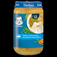 Пюре Gerber Junior рыба-морковь-горошек, с 12 месяцев, 250г