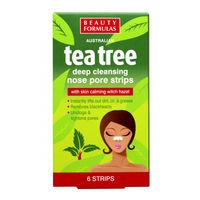Beauty Formulas Tea Tree Deep Cleansing Nose Strips 6pcs - Очищающие полоски для носа с экстрактом чайного дерева