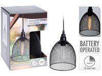 Lampa cu timer H21cm, D16cm, neagra, pe baterii, 4AA