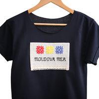 купить Женская футболка с ручной вышивкой - Моя Молдова в Кишинёве