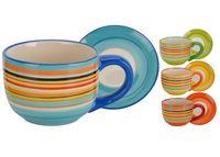 Чашка 230ml, D8cm + блюдце D14cm, разноцветные полосы