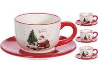 Чашка рождественская 250ml с блюдцем Фигура и елка, керамика