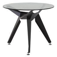 купить Круглый стол со стеклянной поверхностью и c металлическими ножками 900x740 мм, черный в Кишинёве
