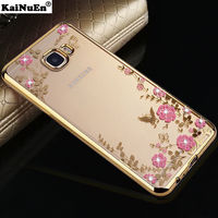 Flowers TPU case Samsung S7, gold