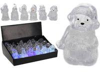 """Сувенир """"Снеговик, Дед Мороз, Медведь"""" цв, светящ. LED, 8.5с"""