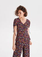 Блуза CROPP Черный в цветочек wc730-99x