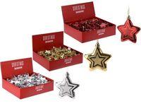 """Елочные украшения """"звезда"""" 2штX75mm золот,серебр,красный"""