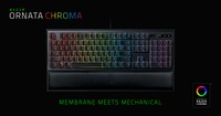 RAZER Ornata Chroma / Mecha-Membrane Gaming Keyboard, Razer™ Mecha-Membrane Technology, Mid-height keycaps, Chroma backlighting 16.8M colors, Fully programmable keys with on-the-fly macro, Ergonomic wrist rest, USB