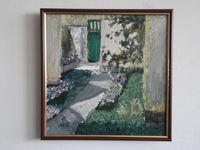 Двор с цветами, 32x32 см., холст, масло