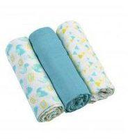 Пелёнки муслиновые Babyono голубые 3 шт