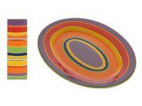 Блюдо керамическое 36Х27cm, с разноцветными полосами
