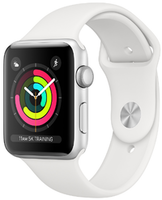 Apple Watch Series 3 42mm Silver Aluminum Case Sport Band White (MTF22FS/A)