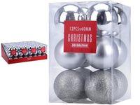 Set de globuri 12X60mm argintii in cutie, 3 modele