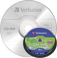 VERBATIM Диск CD-RW VERBATIM 12x/700, 10 штук, splindle 43480