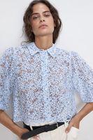Блуза ZARA Голубой с принтом 4437/252/400