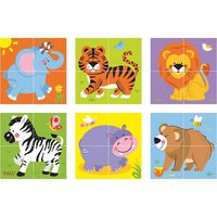 4pcs 6-side Cube Puzzle - Wild animal
