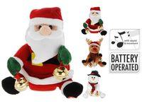 Игрушка мягкая поющая Дед мороз, снеговик, олень 18сm
