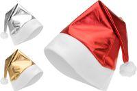 Шапка Деда Мороза,цвет металлик(красный/серебр/золот)