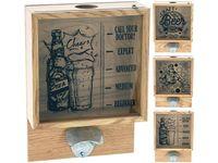 Ящик-диспенсер настенный для хранения пивных пробок с открыв