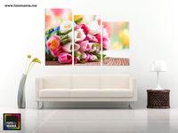 Картина напечатанная на стекле - Триптих Тюльпаны 0001