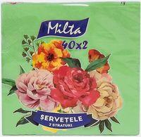 Салфетки столовые MILTA 33x33см, 2-сл., 40 штук зеленые