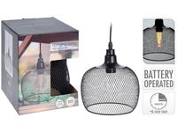Lampa cu timer, H22XD19cm, neagra, pe baterii,  4AA