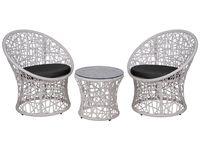 купить Комплект плетеной мебели: столик и 2 кресла, белые в Кишинёве