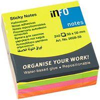 Info Notes Бумага клейкая INFO 50x50мм/4цв., 240 листов, куб неон