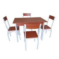 Set masă cu 4 scaune din metal și MDF,1100x700xH760 mm, maro
