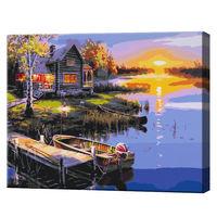Casa de lângă lac, 40х50 cm, pictură pe numere  BS51375
