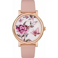 Full Bloom 38mm Leather Strap Watch