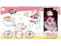Кукла, стул, кроватка, ходунки (роз цветы), 55.5X32X10cm