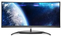 """34.0"""" Philips """"BDM3490UC"""", Black (PLS-Curved, 2560x1440, 4ms,300cd,LED20M:1, DP+HDMI+DVI-DL,Spk,Pvt) (34.0"""" Curved AH-IPS W-LED, 3440x1440 UWQHD, 14 ms (5ms GTG), 300 cd/m², DCR 50 Mln:1 (1000:1), 99% sRGB Color, 1.07billion (8bits + FRC), 178°/178° @C/R>10, 30-99 kHz(H)/30-80 Hz(V) / MHL: 1080P @60Hz, DisplayPort 1.4 + HDMI 2.0 + HDMI-MHL 1.4 + HDMI 1.4, Audio-In, Headphone-Out, Built-in speakers 7W x2 with DTS sound, USB 3.0x3 Hub (1 w/fast charging), External Power Adapter, Fixed Stand (Tilt -5/+20°), MultiView PIP/PBP mode, 2x devices; Curved display (R=3.8m) design; Ultra-Narrow Border, Front bezel: Black/Gray Texture; Rear cover: White-Glossy)"""