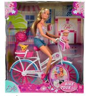 Simba Кукла Стеффи с малышом на велосипеде