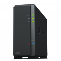 "Synology DiskStation DS118, 3.5"" or 2.5"" SATA3/SSD CPU 1.4GHz Ram 1GB USB3.0"