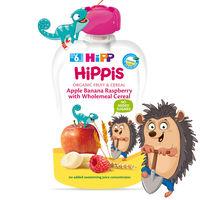 Пюре из яблок, банан, малина и со злаками Hippis (6+ мес.), 100 г