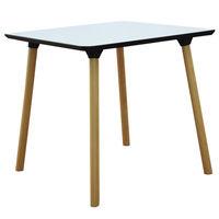 купить Пластиковый стол с деревяннами ножками 800x800x710 мм, белый в Кишинёве