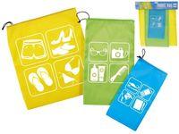 Пакеты для путешествии 3 шт, со шнурком, разных цветов