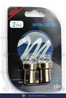 Автолампа P21W LED Ba15s 12V 12x FLUX LED 5mm белый (комплект 2 шт.), M-Tech LB033W